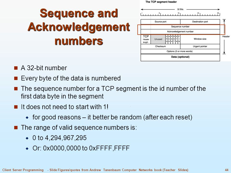 Sequence and Acknowledgement numbers