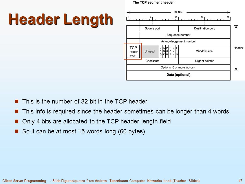 Header Length This is the number of 32-bit in the TCP header