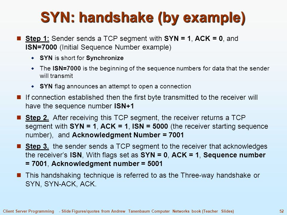 SYN: handshake (by example)