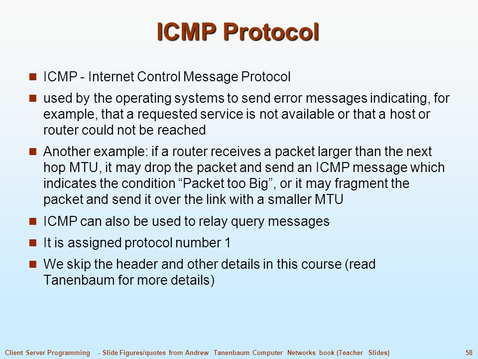 ICMP Protocol ICMP - Internet Control Message Protocol