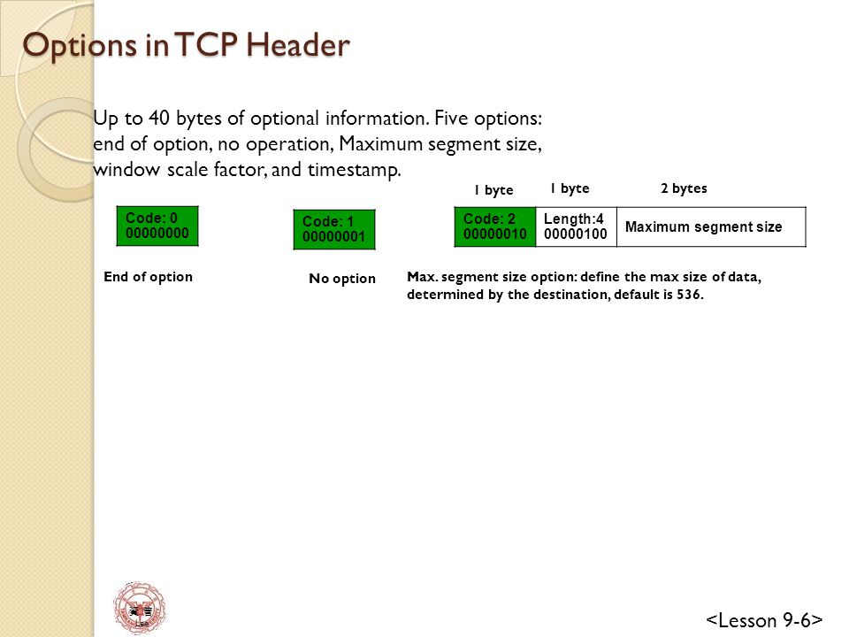 Options in TCP Header Up to 40 bytes of optional information. Five options: