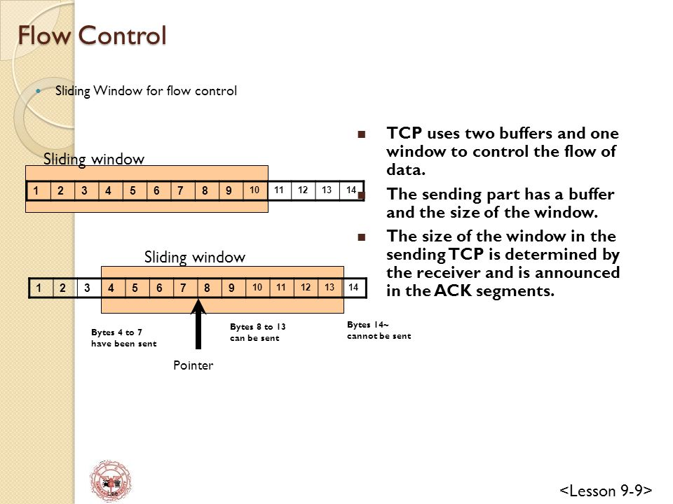 Flow Control Sliding Window for flow control. TCP uses two buffers and one window to control the flow of data.