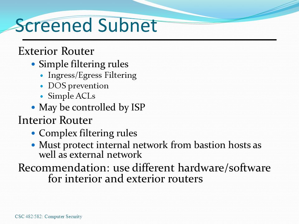Screened Subnet Exterior Router Interior Router