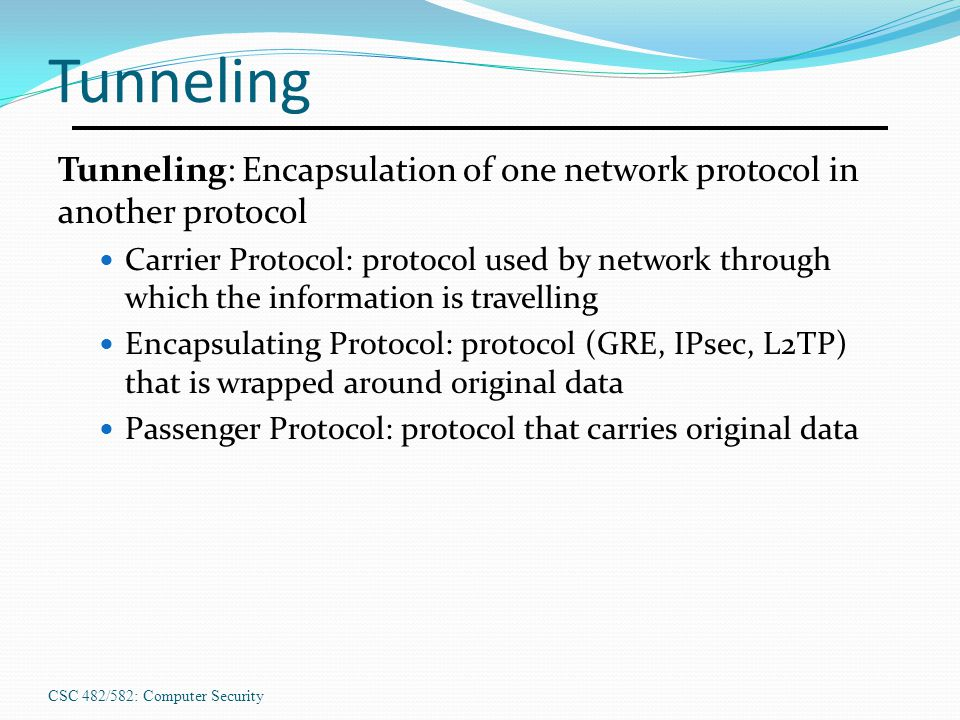 Tunneling Tunneling: Encapsulation of one network protocol in another protocol.