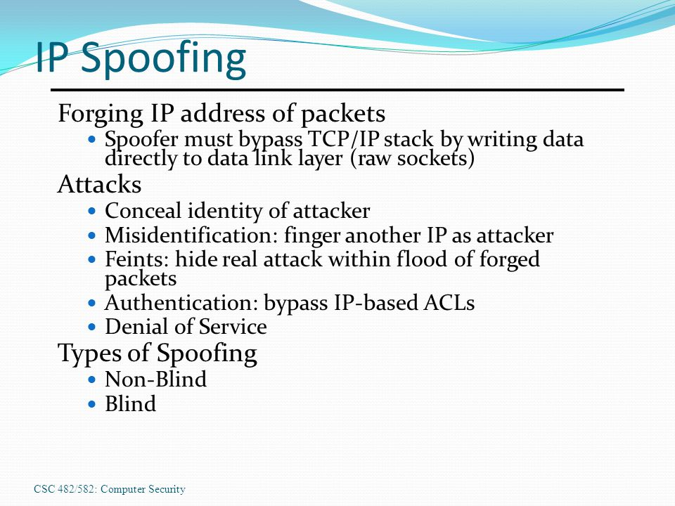 IP Spoofing Forging IP address of packets Attacks Types of Spoofing