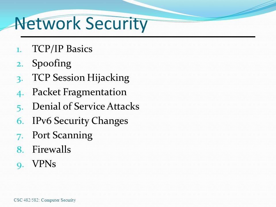 Network Security TCP/IP Basics Spoofing TCP Session Hijacking