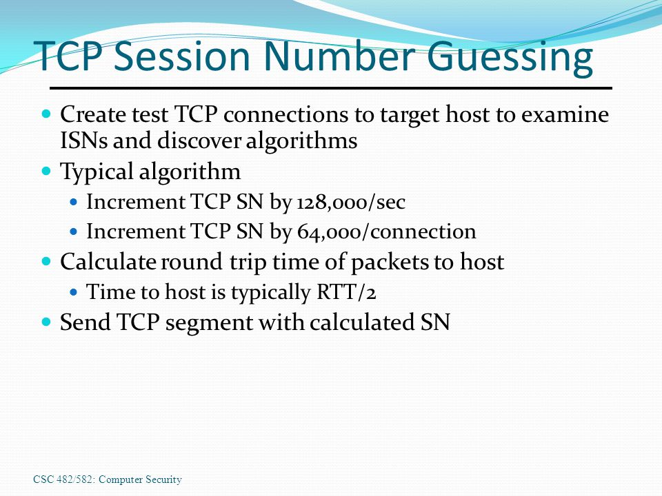 TCP Session Number Guessing