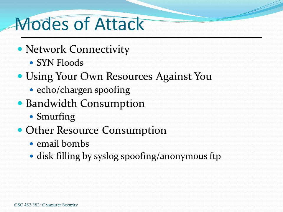 Modes of Attack Network Connectivity