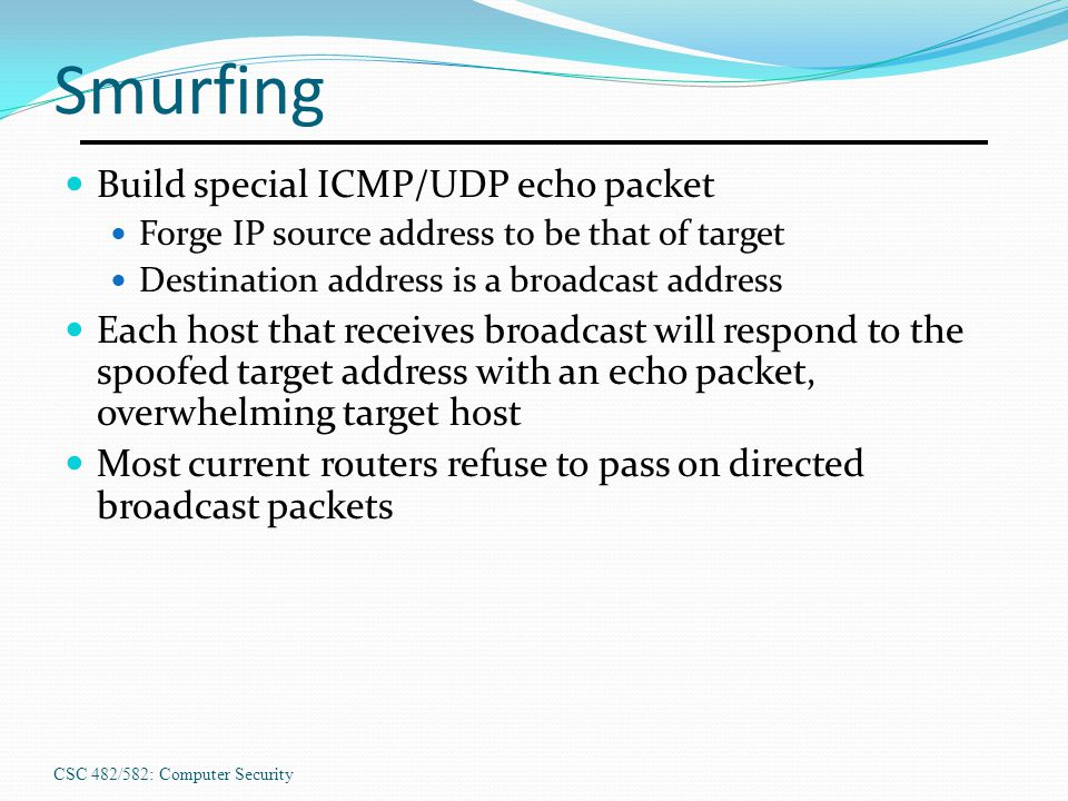 Smurfing Build special ICMP/UDP echo packet