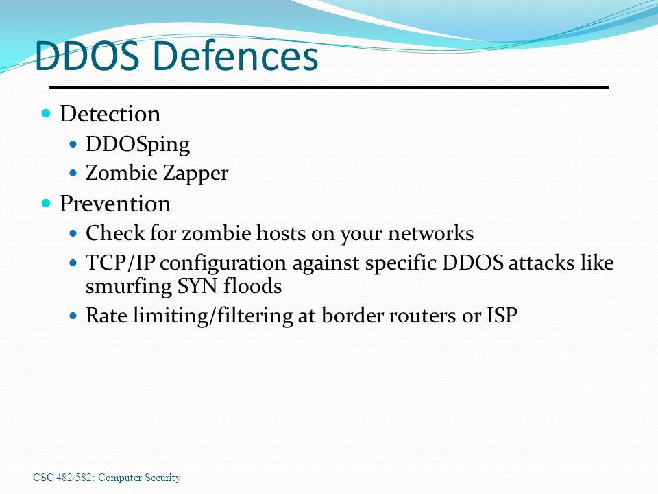 DDOS Defences Detection Prevention DDOSping Zombie Zapper