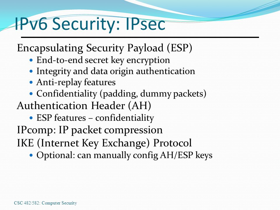 IPv6 Security: IPsec Encapsulating Security Payload (ESP)