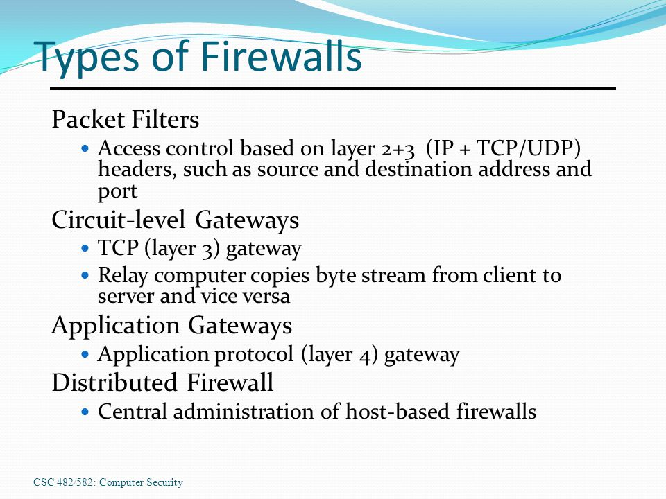 Types of Firewalls Packet Filters Circuit-level Gateways