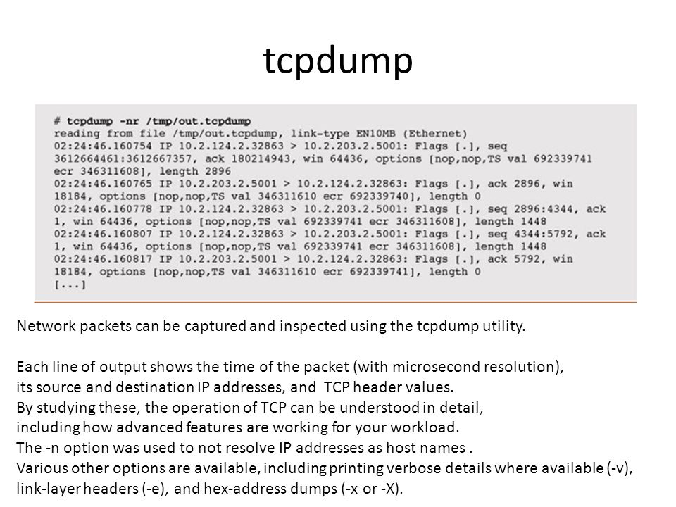 tcpdump Network packets can be captured and inspected using the tcpdump utility.