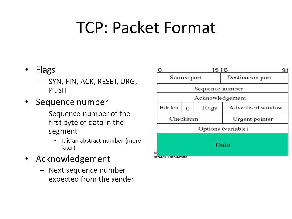 TCP: Packet Format Flags Sequence number Acknowledgement