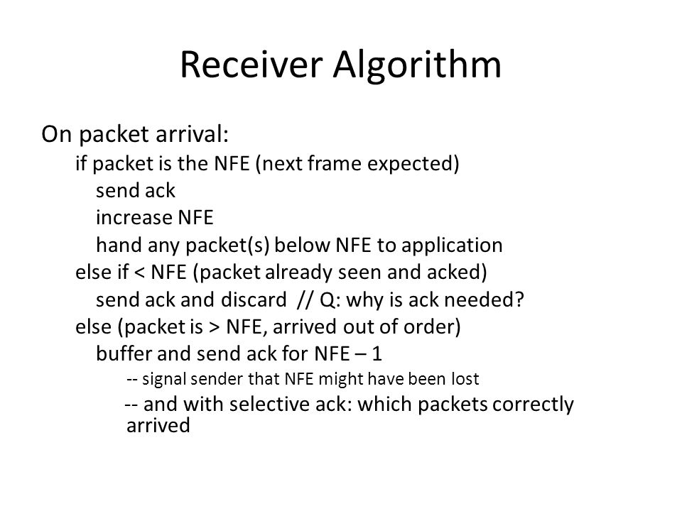 Receiver Algorithm On packet arrival: