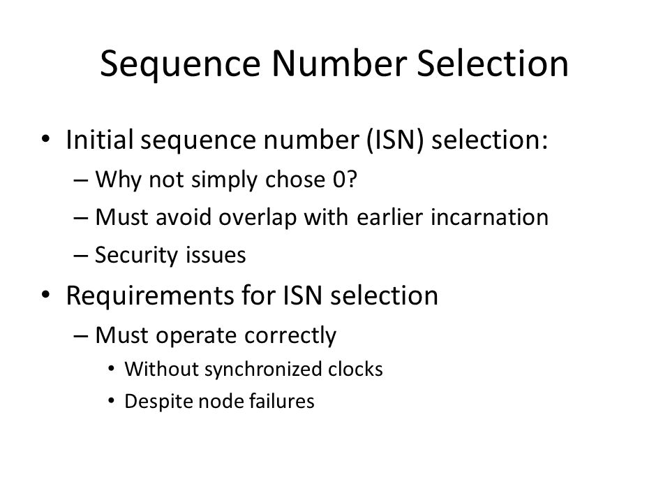 Sequence Number Selection