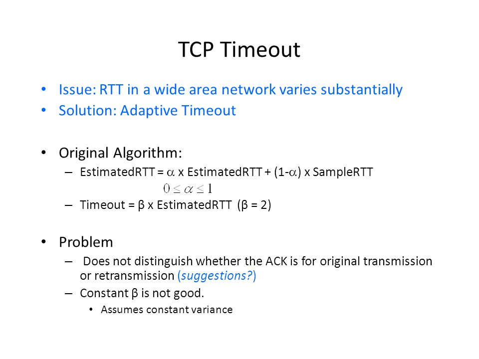 TCP Timeout Issue: RTT in a wide area network varies substantially