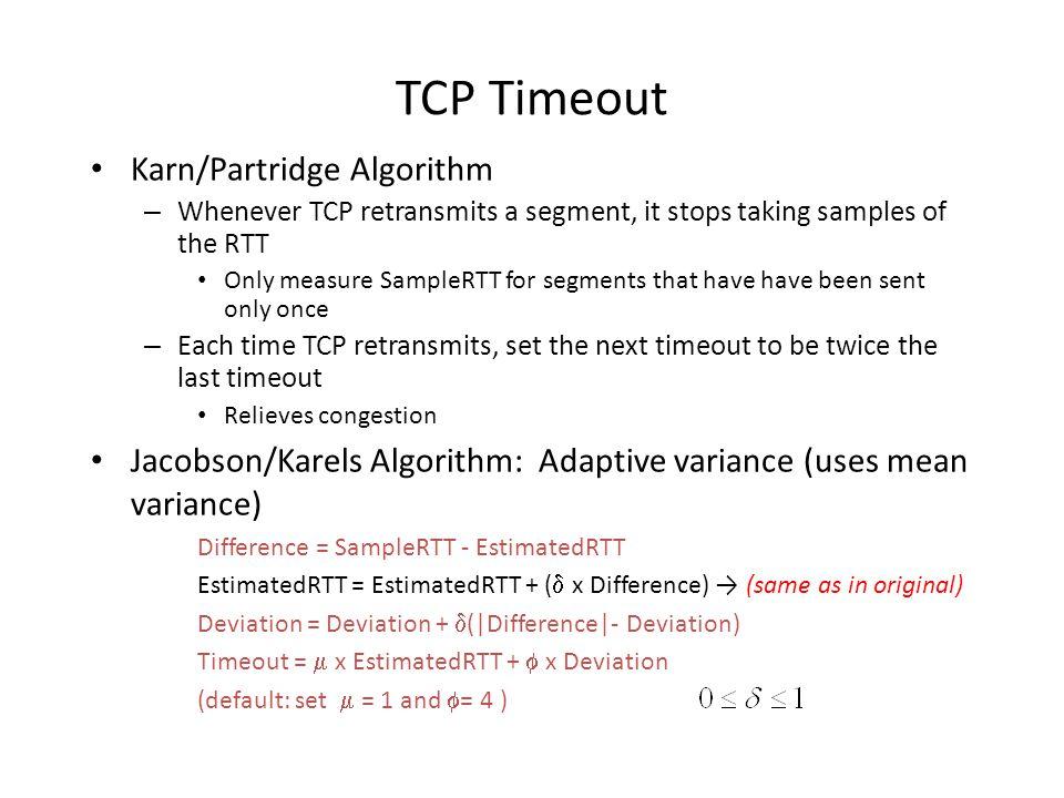 TCP Timeout Karn/Partridge Algorithm