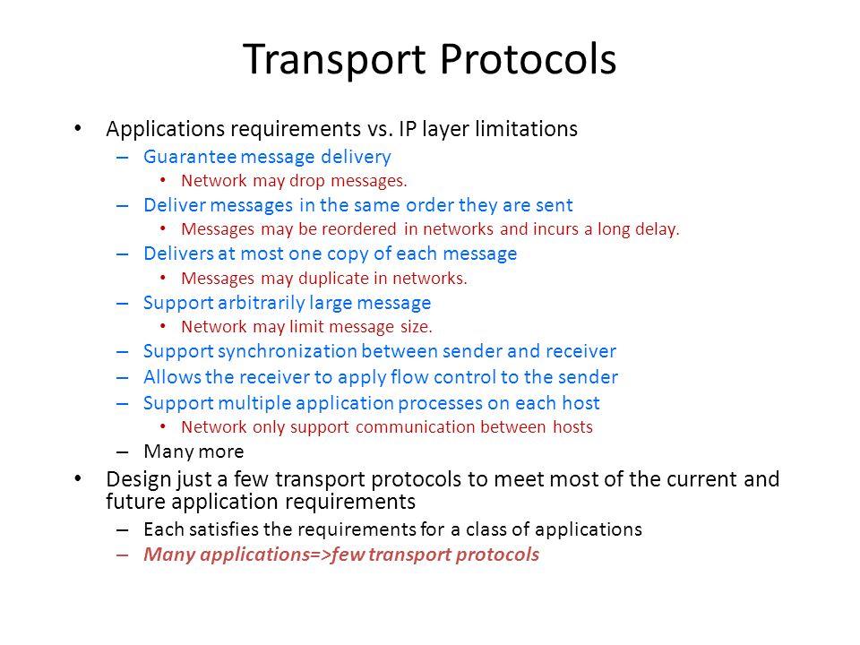 Transport Protocols Applications requirements vs. IP layer limitations