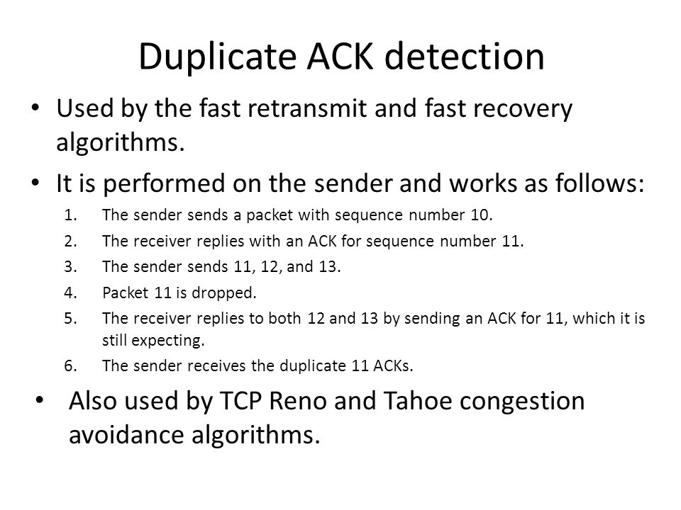 Duplicate ACK detection