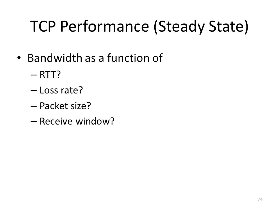 TCP Performance (Steady State)