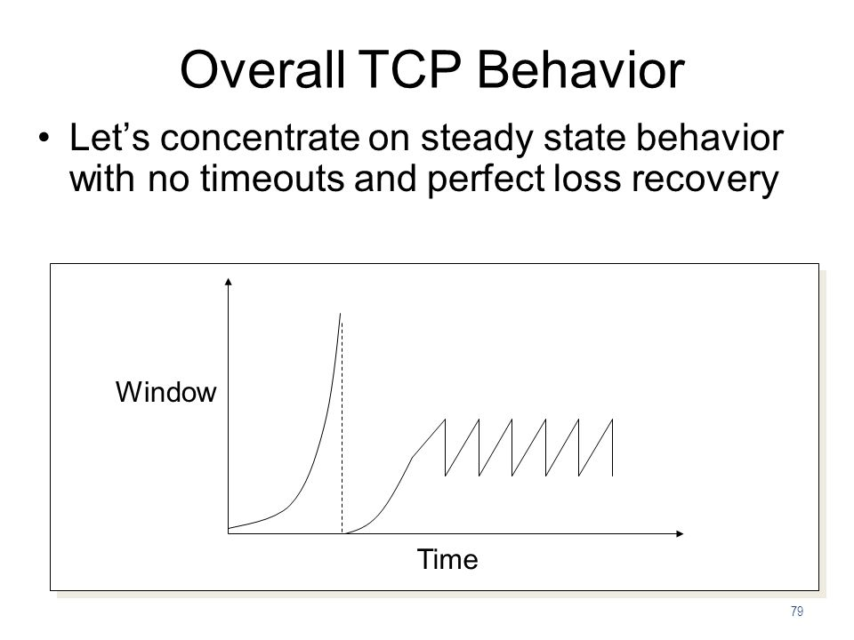 Overall TCP Behavior Let's concentrate on steady state behavior with no timeouts and perfect loss recovery.