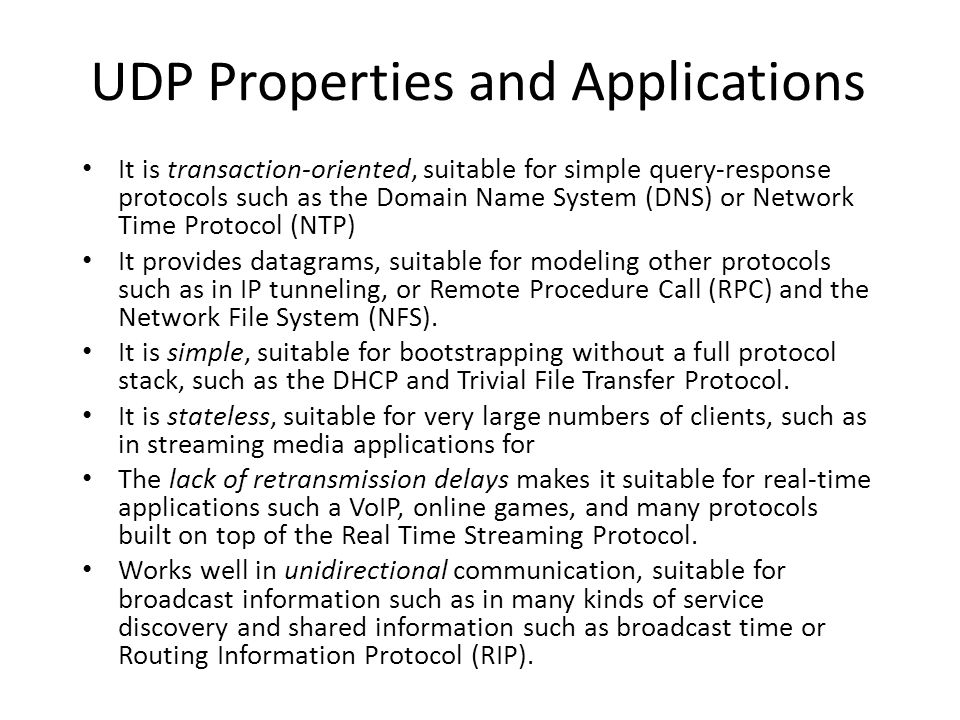 UDP Properties and Applications