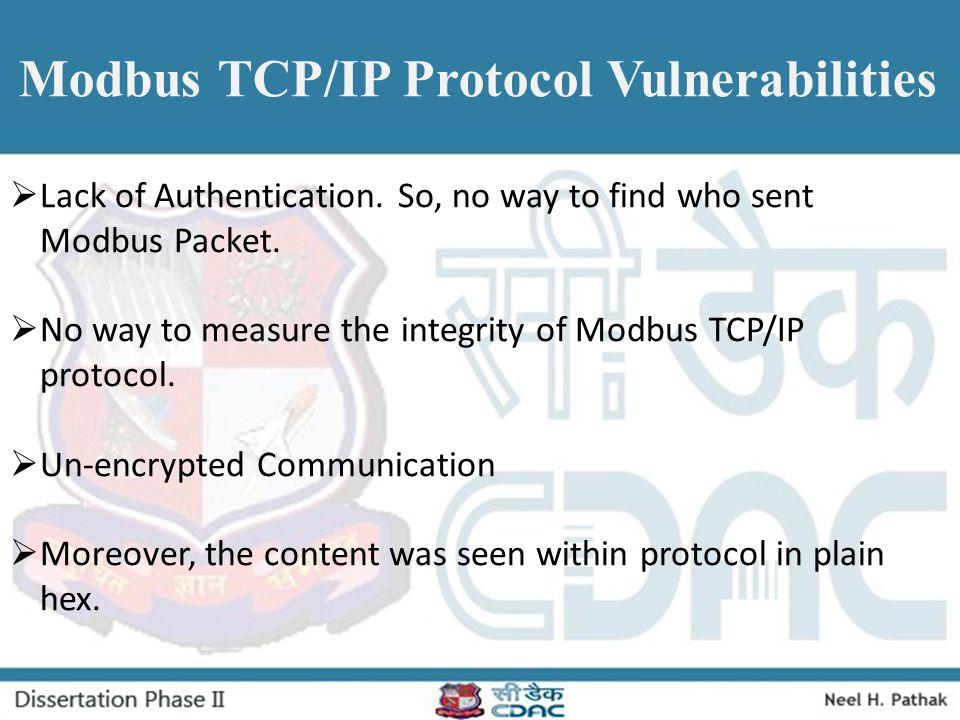 Modbus TCP/IP Protocol Vulnerabilities