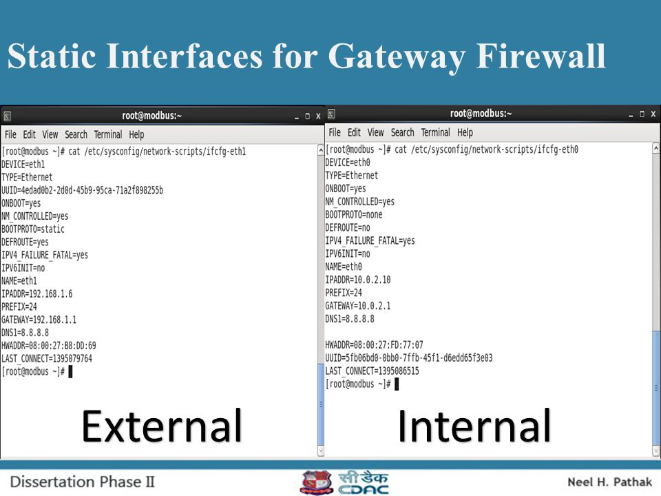 Static Interfaces for Gateway Firewall