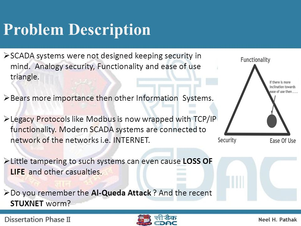 Problem Description SCADA systems were not designed keeping security in mind. Analogy security, Functionality and ease of use triangle.