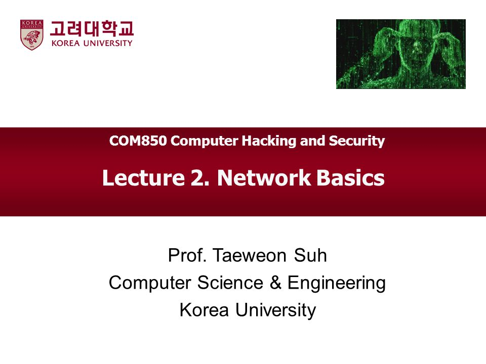 COM850 Computer Hacking and Security Lecture 2. Network Basics