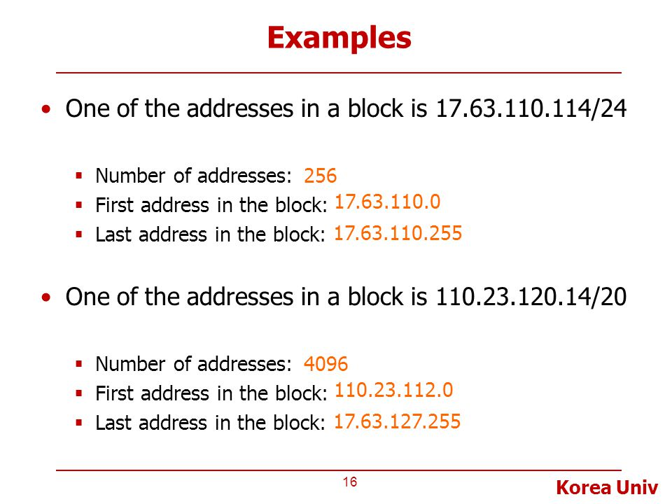 Examples One of the addresses in a block is 17.63.110.114/24