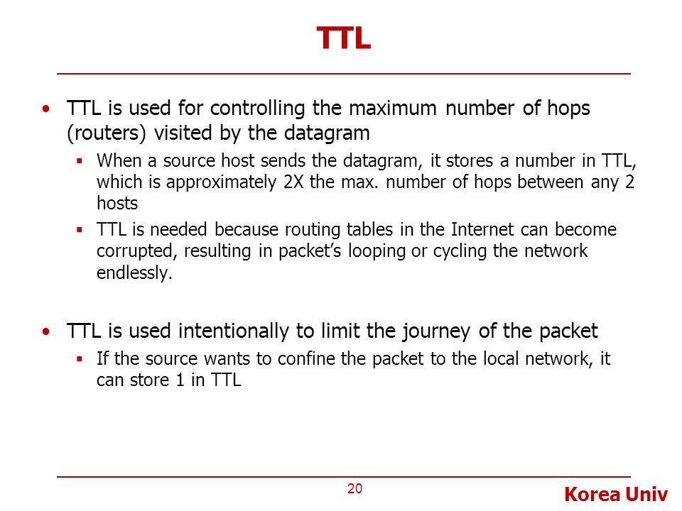 TTL TTL is used for controlling the maximum number of hops (routers) visited by the datagram.