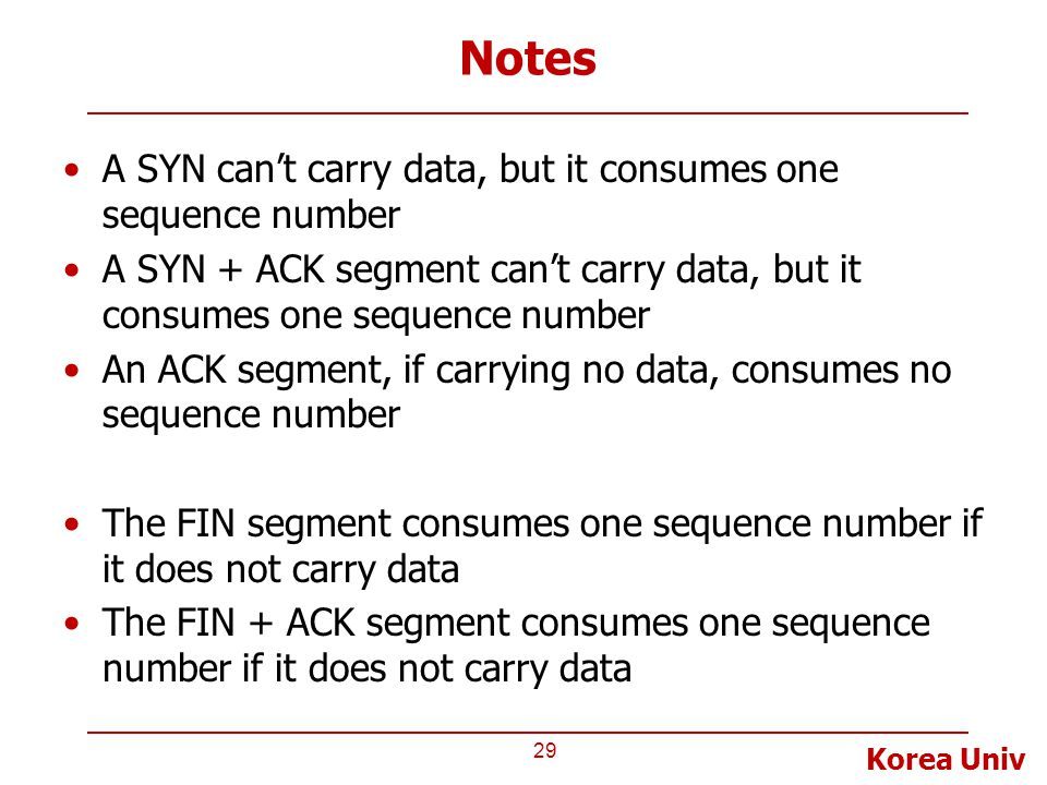 Notes A SYN can't carry data, but it consumes one sequence number