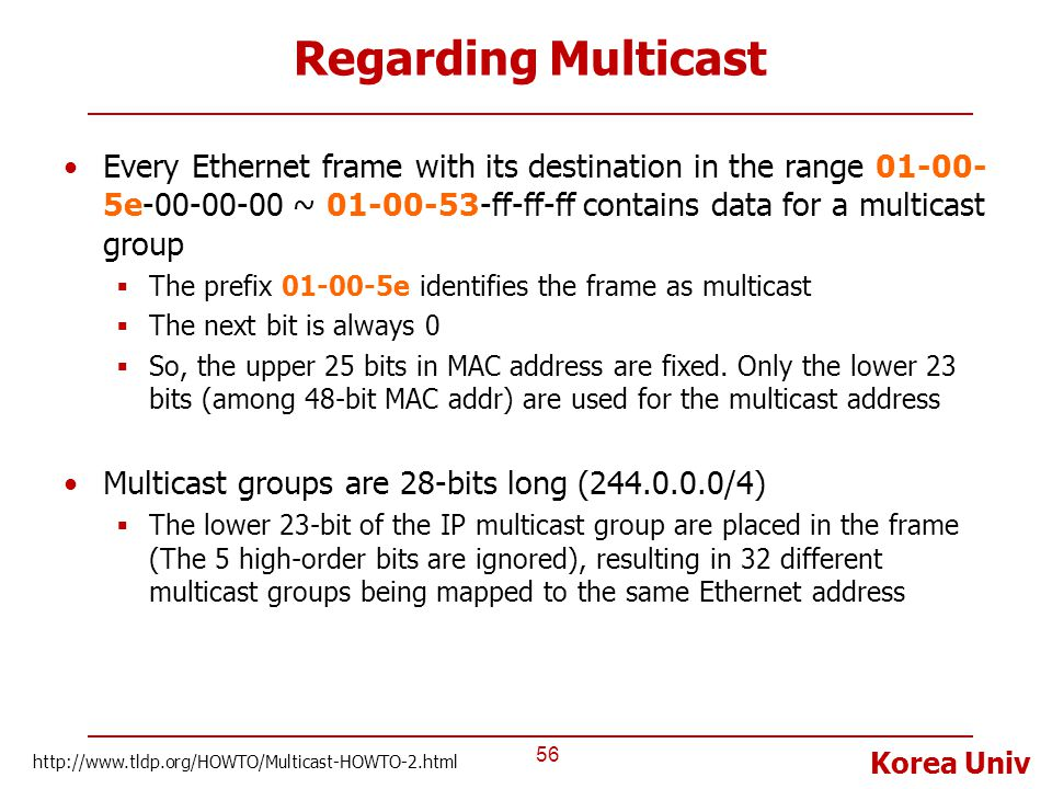 Regarding Multicast Every Ethernet frame with its destination in the range 01-00-5e-00-00-00 ~ 01-00-53-ff-ff-ff contains data for a multicast group.