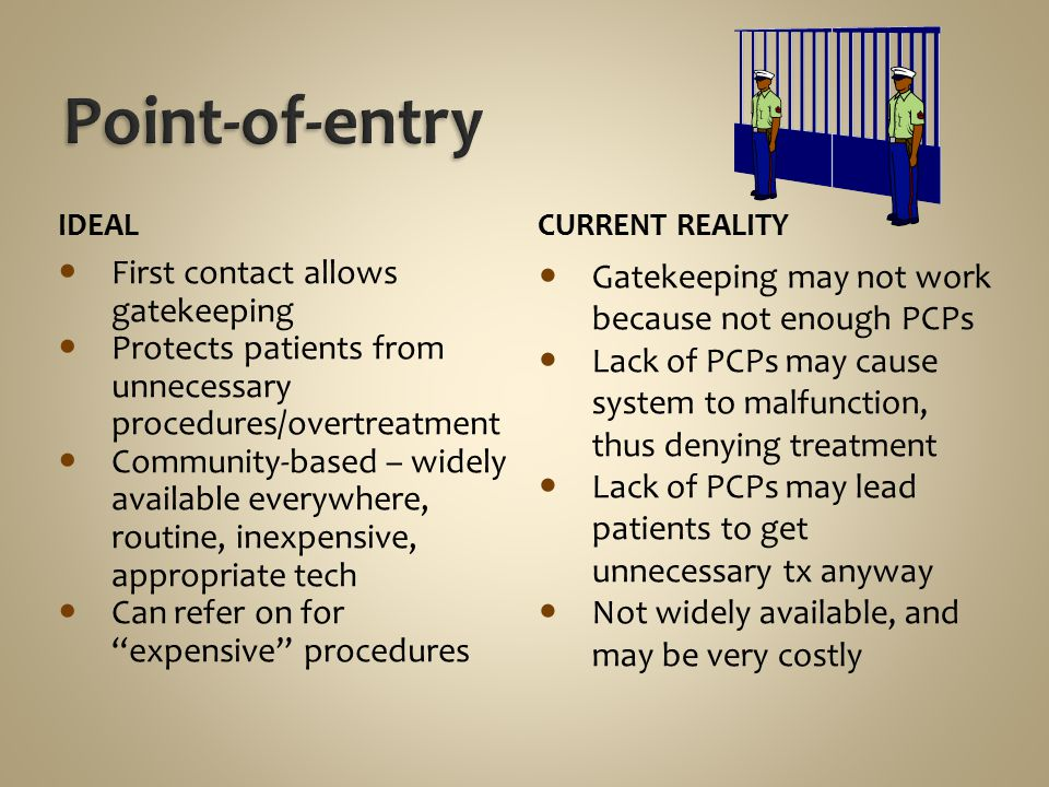 Point-of-entry First contact allows gatekeeping