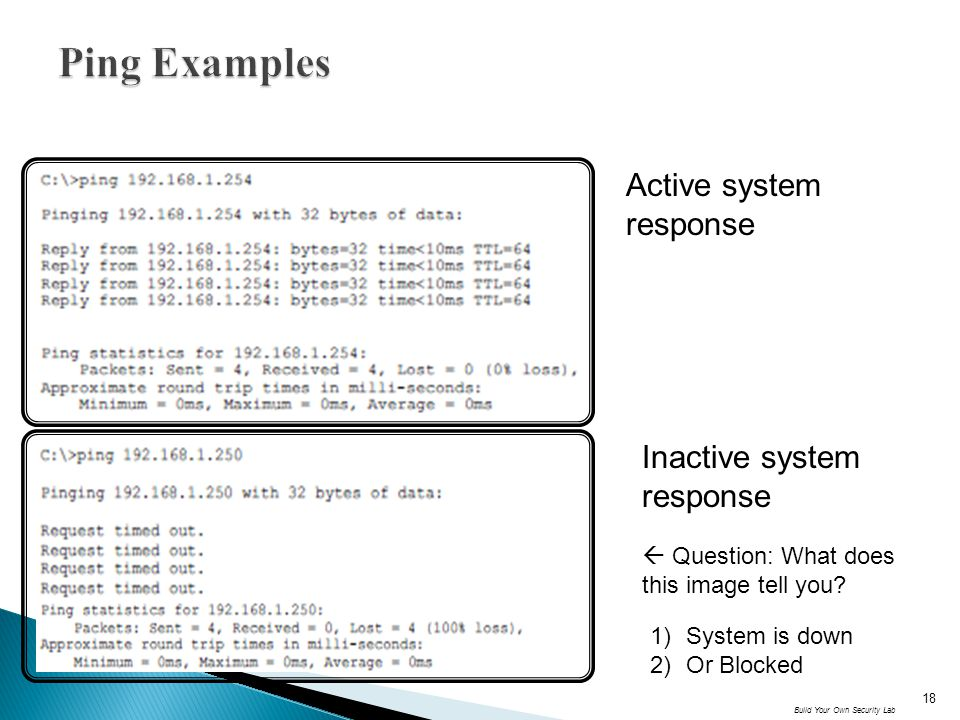 Ping Examples Active system response Inactive system response