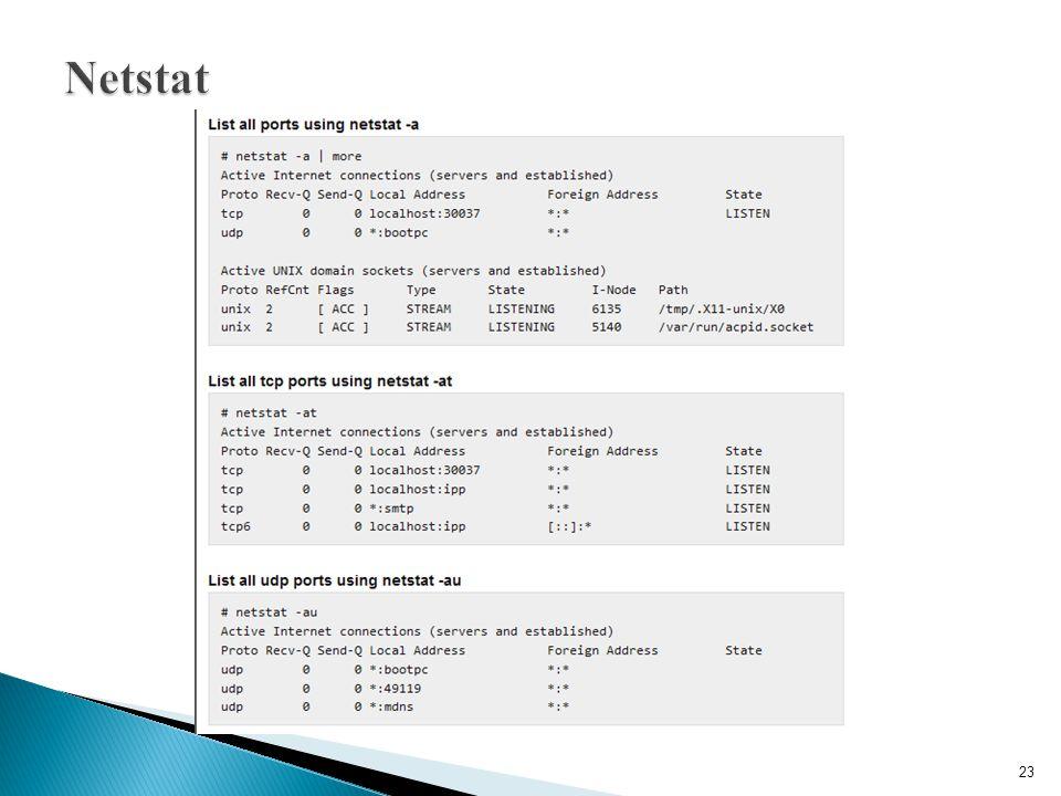 Netstat http://www.thegeekstuff.com/2010/03/netstat-command-examples/