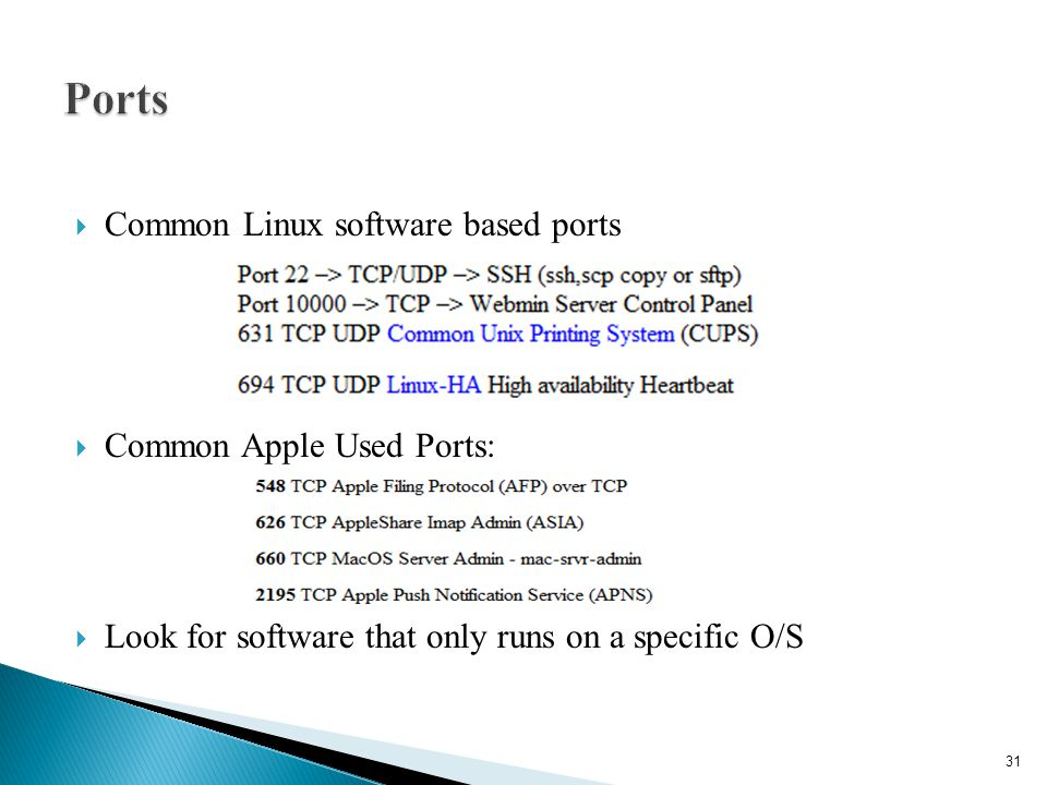 Ports Common Linux software based ports Common Apple Used Ports: