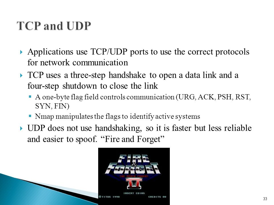 TCP and UDP Applications use TCP/UDP ports to use the correct protocols for network communication.
