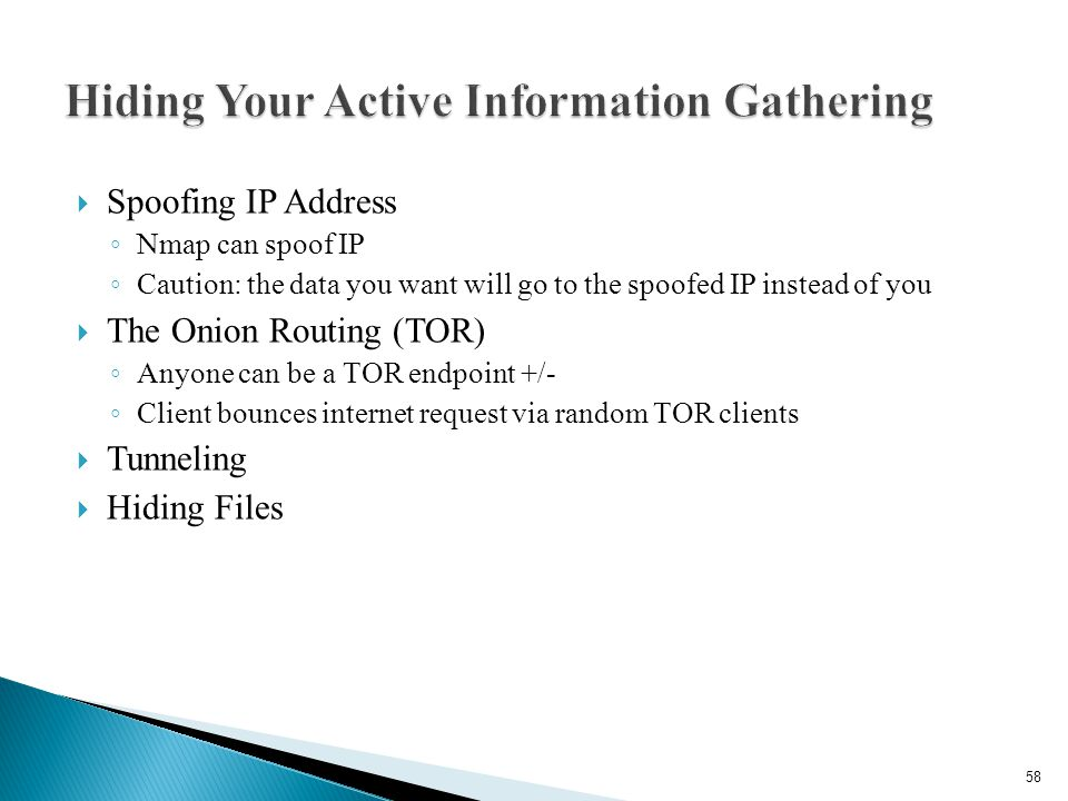 Hiding Your Active Information Gathering