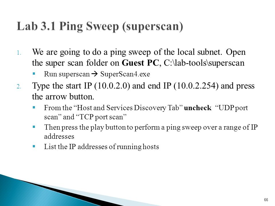 Lab 3.1 Ping Sweep (superscan)
