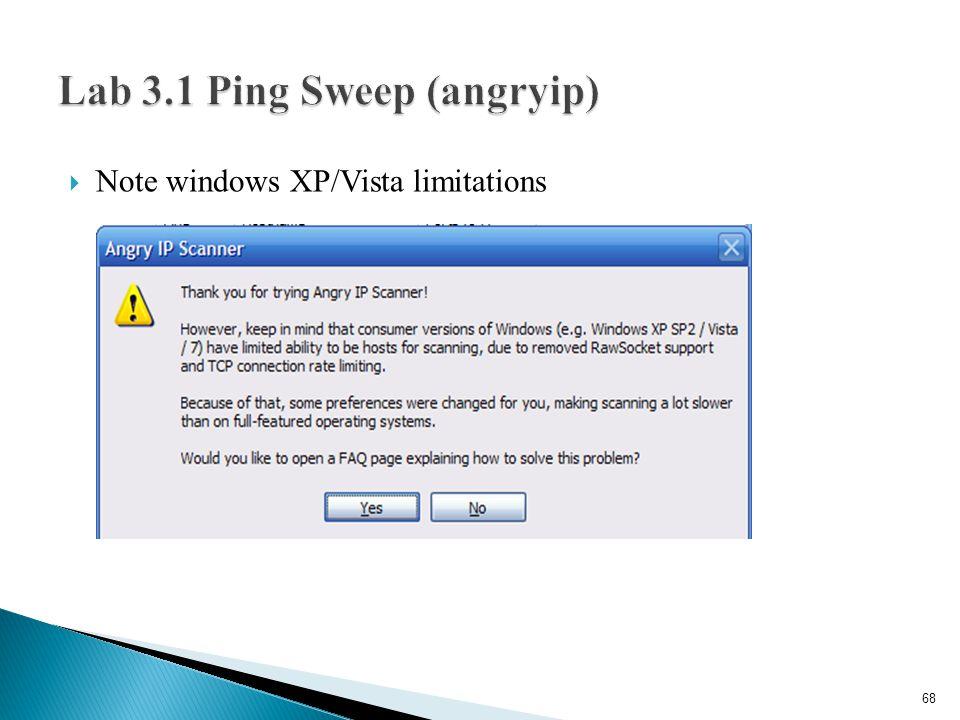 Lab 3.1 Ping Sweep (angryip)