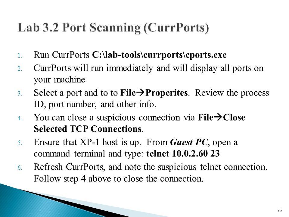 Lab 3.2 Port Scanning (CurrPorts)