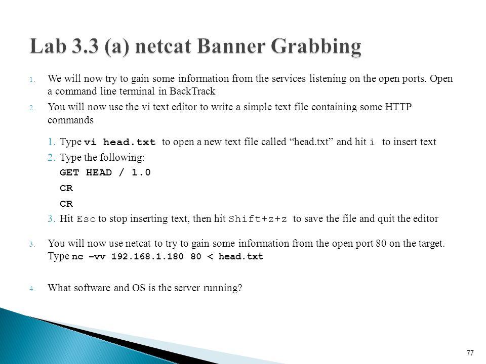 Lab 3.3 (a) netcat Banner Grabbing