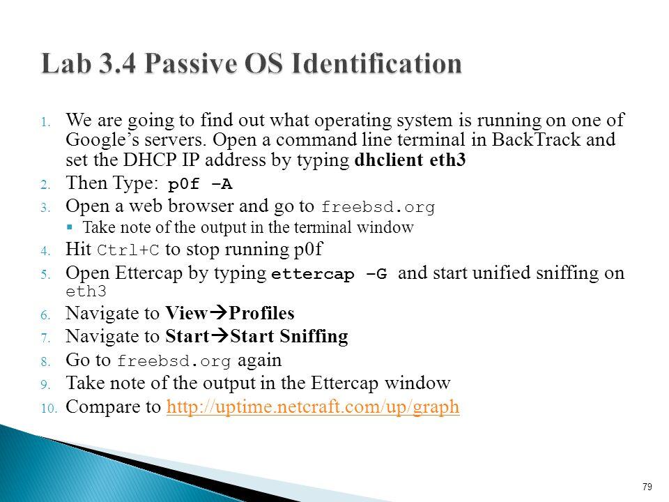 Lab 3.4 Passive OS Identification