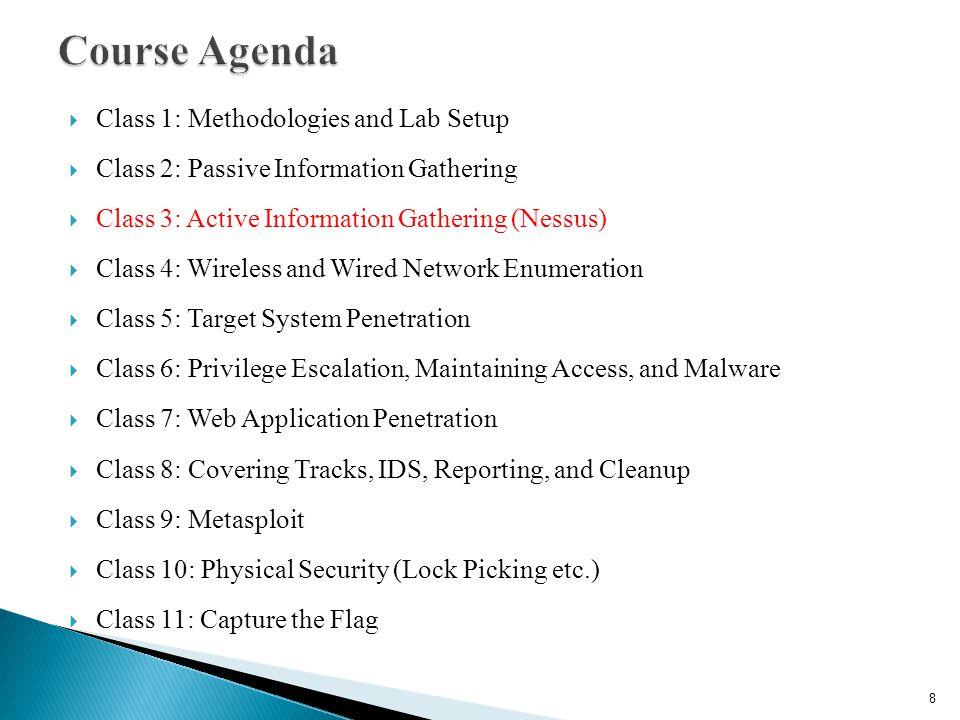 Course Agenda Class 1: Methodologies and Lab Setup