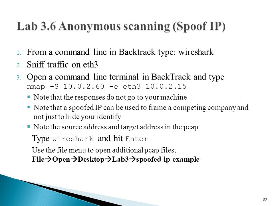 Lab 3.6 Anonymous scanning (Spoof IP)