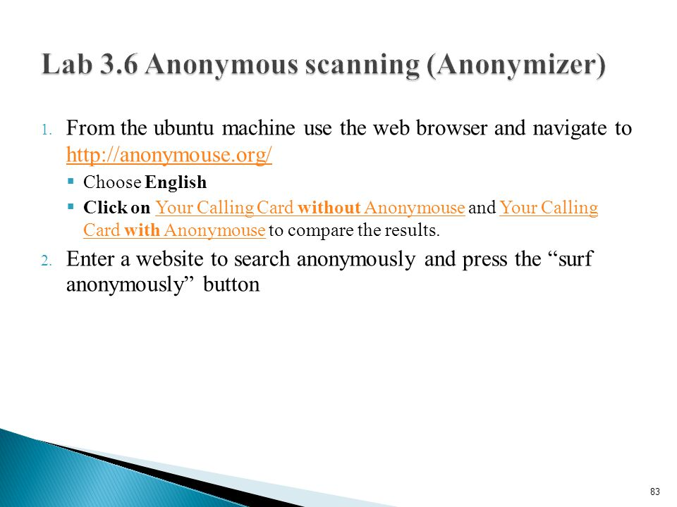 Lab 3.6 Anonymous scanning (Anonymizer)