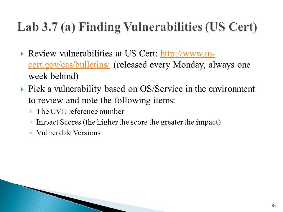 Lab 3.7 (a) Finding Vulnerabilities (US Cert)